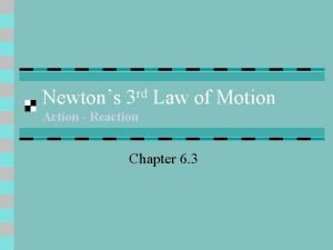 Newtons 3 rd Law of Motion Action Reaction