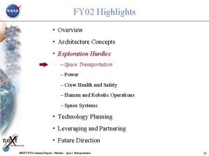 FY 02 Highlights Overview Architecture Concepts Exploration Hurdles
