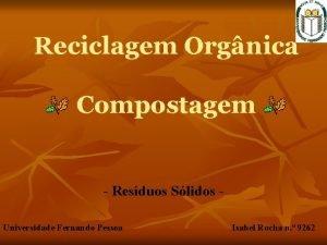 Reciclagem Orgnica Compostagem Resduos Slidos Universidade Fernando Pessoa