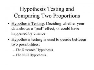 Hypothesis Testing and Comparing Two Proportions Hypothesis Testing