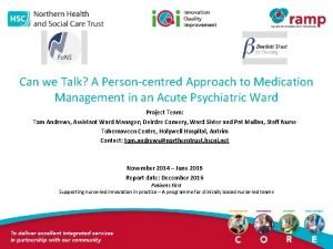Can we Talk A Personcentred Approach to Medication