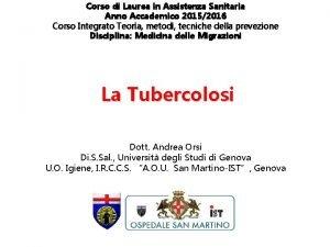 Corso di Laurea in Assistenza Sanitaria Anno Accademico