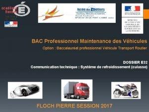 BAC Professionnel Maintenance des Vhicules Option Baccalaurat professionnel