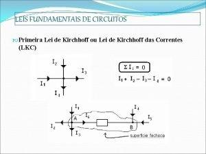 LEIS FUNDAMENTAIS DE CIRCUITOS Primeira Lei de Kirchhoff