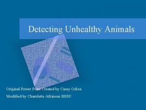 Detecting Unhealthy Animals Original Power Point Created by