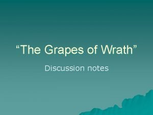 The Grapes of Wrath Discussion notes Chapters 1