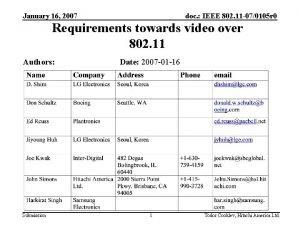 January 16 2007 doc IEEE 802 11 070105