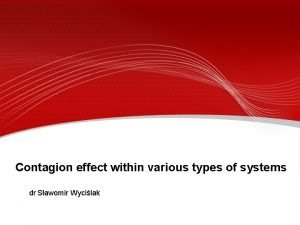 Contagion effect within various types of systems dr