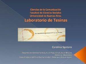 Ciencias de la Comunicacin Facultad de Ciencias Sociales