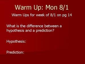 Warm Up Mon 81 Warm Ups for week