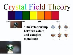 Crystal Field Theory 400 500 600 The relationship