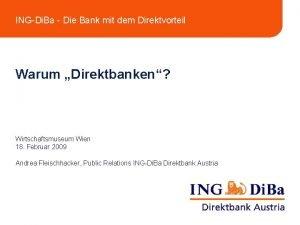 INGDi Ba Die Bank mit dem Direktvorteil Warum