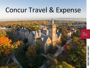 Concur Travel Expense Agenda Overview of Concur Setting