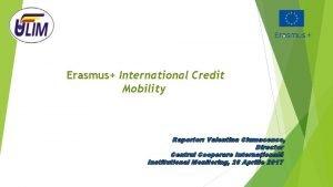 Erasmus International Credit Mobility Raportor Valentina Ciumacenco Director