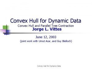 Convex Hull for Dynamic Data Convex Hull and