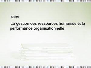 REI 2240 La gestion des ressources humaines et