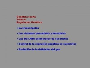 Gentica teora Tema 6 Regulacin Gentica La transcripcin