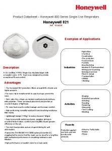 Product Datasheet Honeywell 800 Series SingleUse Respirators Honeywell