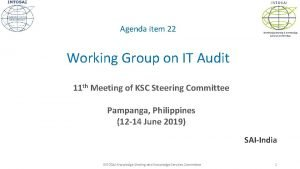 INTOSAI Agenda item 22 Knowledge Sharing Knowledge Services