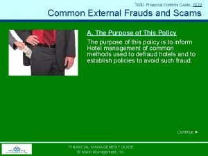 7600 Financial Controls Guide 7610 Common External Frauds