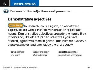 Demonstrative adjectives In Spanish as in English demonstrative