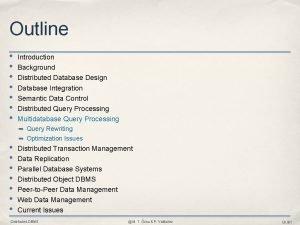 Outline Introduction Background Distributed Database Design Database Integration