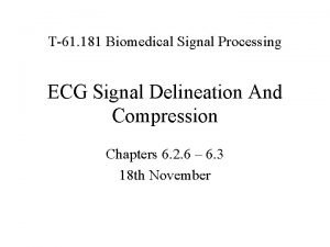 T61 181 Biomedical Signal Processing ECG Signal Delineation