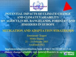 POTENTIAL IMPACTS OF CLIMATE CHANGE AND CLIMATE VARIABILITY