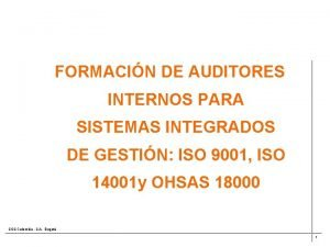 FORMACIN DE AUDITORES INTERNOS PARA SISTEMAS INTEGRADOS DE