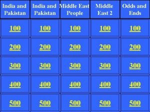 India and Pakistan India and Middle East Pakistan