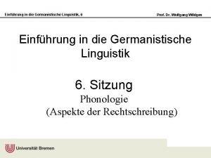 Einfhrung in die Germanistische Linguistik 6 Prof Dr