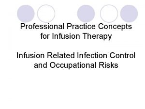 Professional Practice Concepts for Infusion Therapy Infusion Related