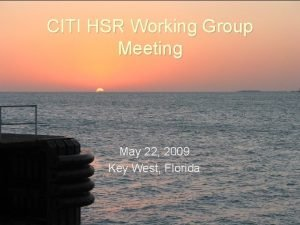 CITI HSR Working Group Meeting May 22 2009