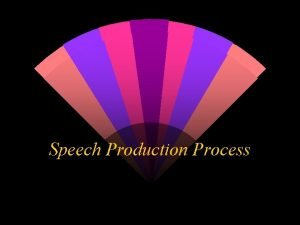 Speech Production Process 4 Processes in Speech Production
