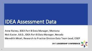 IDEA Assessment Data Anne Rainey IDEA Part B