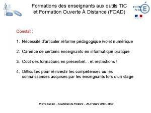 Formations des enseignants aux outils TIC et Formation
