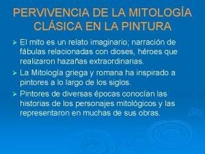 PERVIVENCIA DE LA MITOLOGA CLSICA EN LA PINTURA