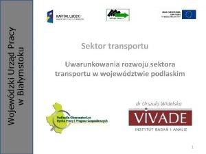 Wojewdzki Urzd Pracy w Biaymstoku Sektor transportu Uwarunkowania
