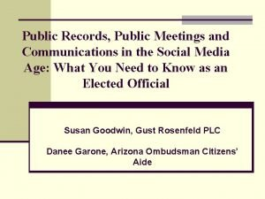 Public Records Public Meetings and Communications in the