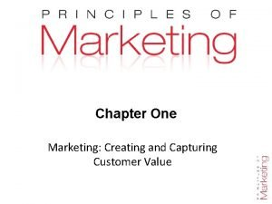 Chapter One Marketing Creating and Capturing Customer Value
