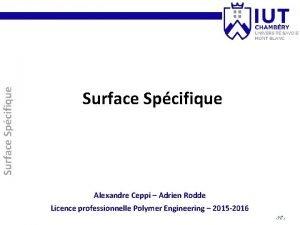 Surface Spcifique Alexandre Ceppi Adrien Rodde Licence professionnelle