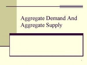 Aggregate Demand Aggregate Supply 1 The Aggregate Demand