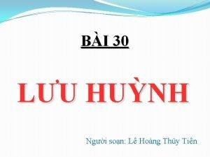 BI 30 LU HUNH Ngi son L Hong