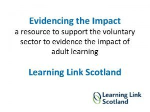 Evidencing the Impact a resource to support the