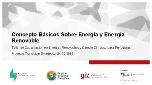 Concepto Bsicos Sobre Energa y Energa Renovable Taller