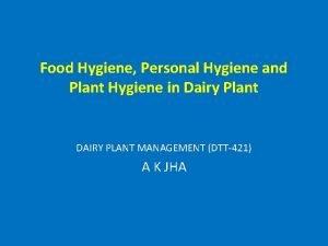 Food Hygiene Personal Hygiene and Plant Hygiene in