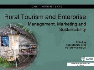 CABI TOURISM TEXTS Rural Tourism and Enterprise Management