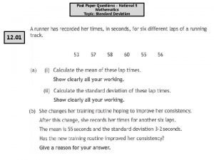 Past Paper Questions National 5 Mathematics Topic Standard