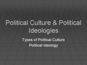 Political Culture Political Ideologies Types of Political Culture