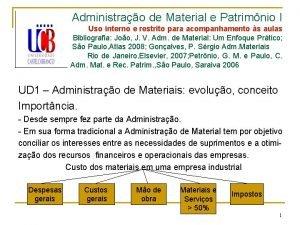 Administrao de Material e Patrimnio I Uso interno